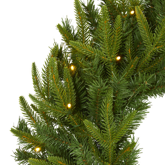 24 Long Pine Artificial Christmas Wreath with 35 Clear LED Lights - SKU #W1115 - 2