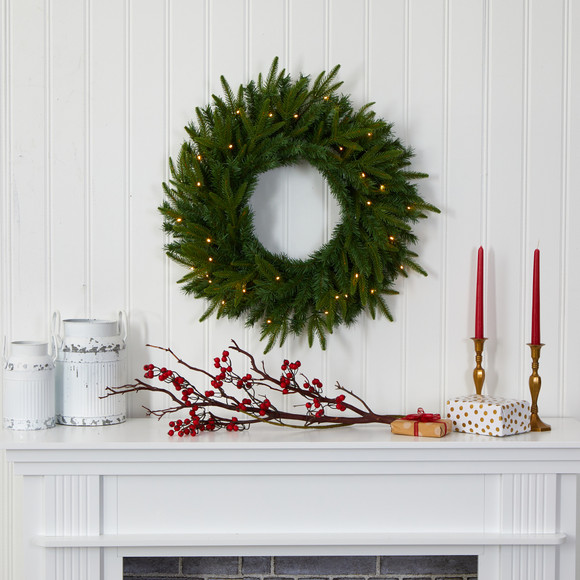 24 Long Pine Artificial Christmas Wreath with 35 Clear LED Lights - SKU #W1115 - 3