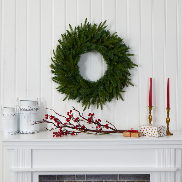 24 Long Pine Artificial Christmas Wreath with 35 Clear LED Lights - SKU #W1115 - 4