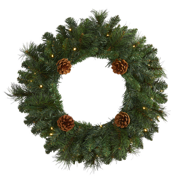 20 Pine Artificial Christmas Wreath with 35 LED Lights and Pinecones - SKU #W1116