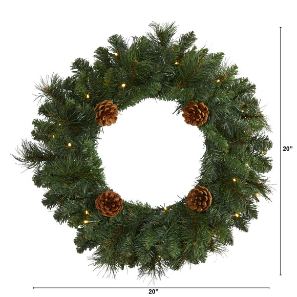 20 Pine Artificial Christmas Wreath with 35 LED Lights and Pinecones - SKU #W1116 - 1