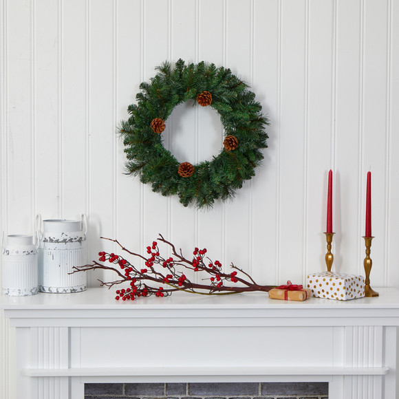 20 Pine Artificial Christmas Wreath with 35 LED Lights and Pinecones - SKU #W1116 - 4