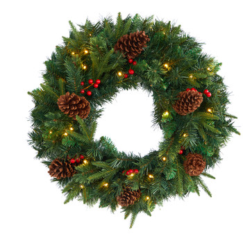 24 Mixed Pine Artificial Christmas Wreath with 35 Clear LED Lights and Berries - SKU #W1117