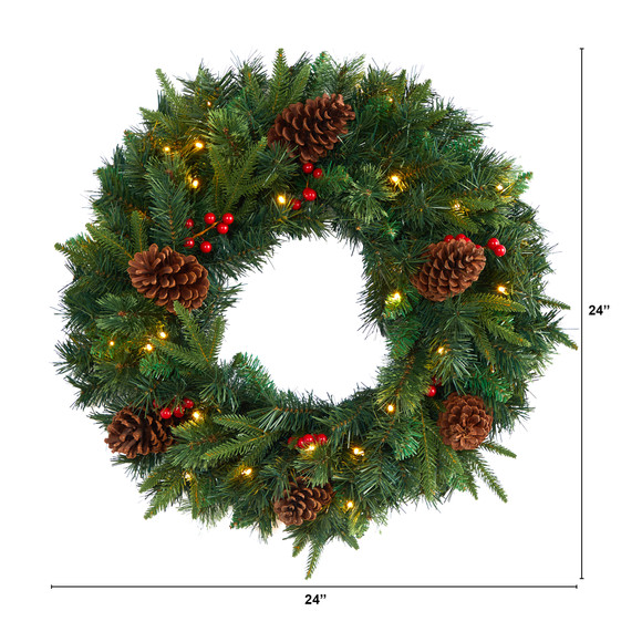 24 Mixed Pine Artificial Christmas Wreath with 35 Clear LED Lights and Berries - SKU #W1117 - 1