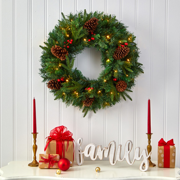 24 Mixed Pine Artificial Christmas Wreath with 35 Clear LED Lights and Berries - SKU #W1117 - 3