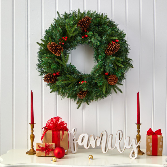 24 Mixed Pine Artificial Christmas Wreath with 35 Clear LED Lights and Berries - SKU #W1117 - 4