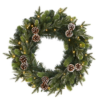 24 Snowed Pinecone Artificial Christmas Wreath with 35 Clear LED Lights - SKU #W1118