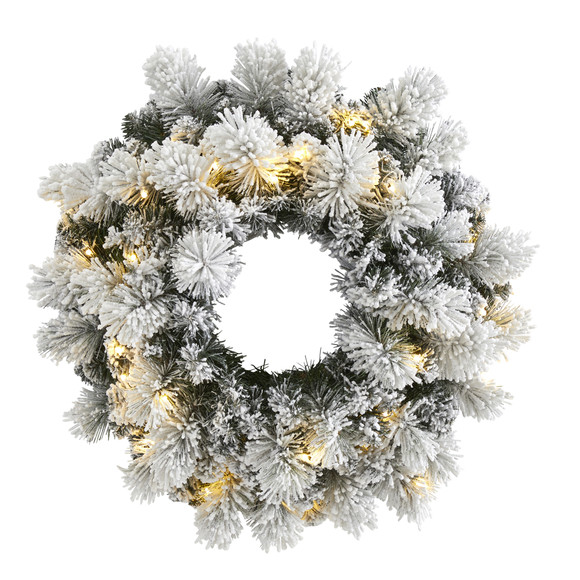 24 Flocked Artificial Christmas Wreath with 30 Warm White LED Lights and 135 Bendable Branches - SKU #W1126