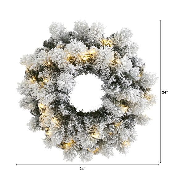 24 Flocked Artificial Christmas Wreath with 30 Warm White LED Lights and 135 Bendable Branches - SKU #W1126 - 1