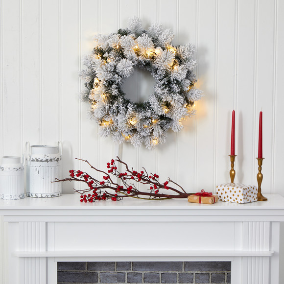 24 Flocked Artificial Christmas Wreath with 30 Warm White LED Lights and 135 Bendable Branches - SKU #W1126 - 3