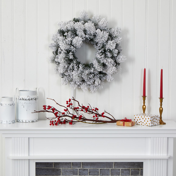 24 Flocked Artificial Christmas Wreath with 30 Warm White LED Lights and 135 Bendable Branches - SKU #W1126 - 4