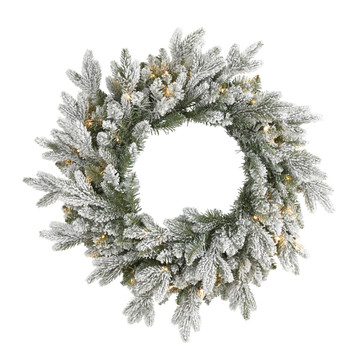 24 Flocked Artificial Christmas Wreath with 50 LED Lights - SKU #W1128