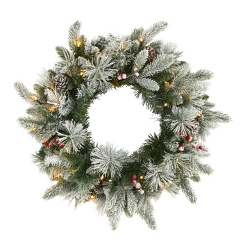 20 Flocked Mixed Pine Artificial Christmas Wreath with 50 LED Lights Pine Cones and Berries - SKU #W1129