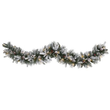 6 Flocked Mixed Pine Artificial Christmas Garland with 50 LED Lights Pine Cones and Berries - SKU #W1130
