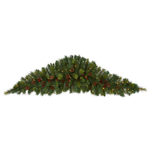 6 Artificial Christmas Swag with 50 LED Lights Berries and Pine Cones - SKU #W1131