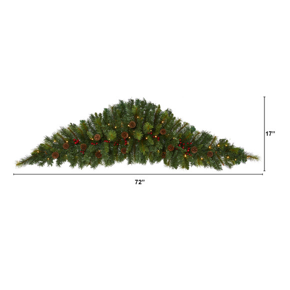 6 Artificial Christmas Swag with 50 LED Lights Berries and Pine Cones - SKU #W1131 - 1