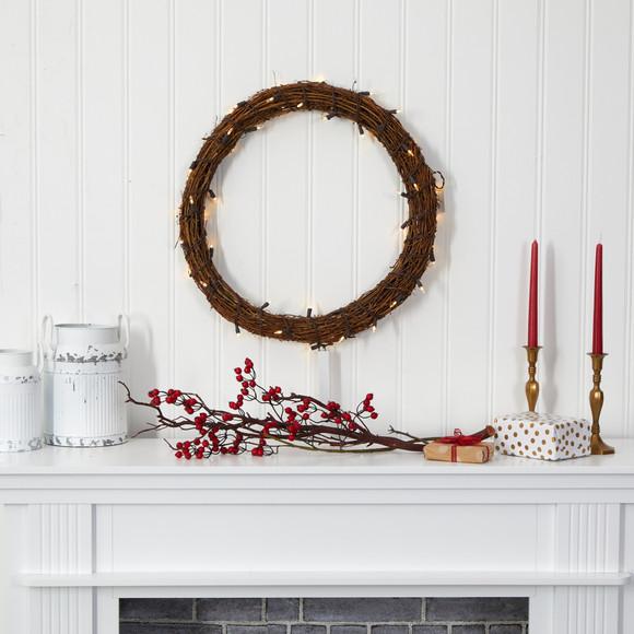 22 Vine Wreath with 50 Warm White LED Lights - SKU #W1132 - 3