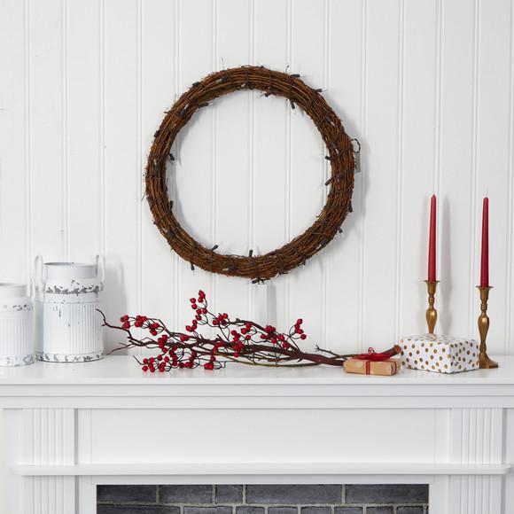22 Vine Wreath with 50 Warm White LED Lights - SKU #W1132 - 4
