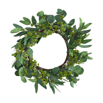 22 Eucalyptus and Berry Artificial Wreath - SKU #W1140