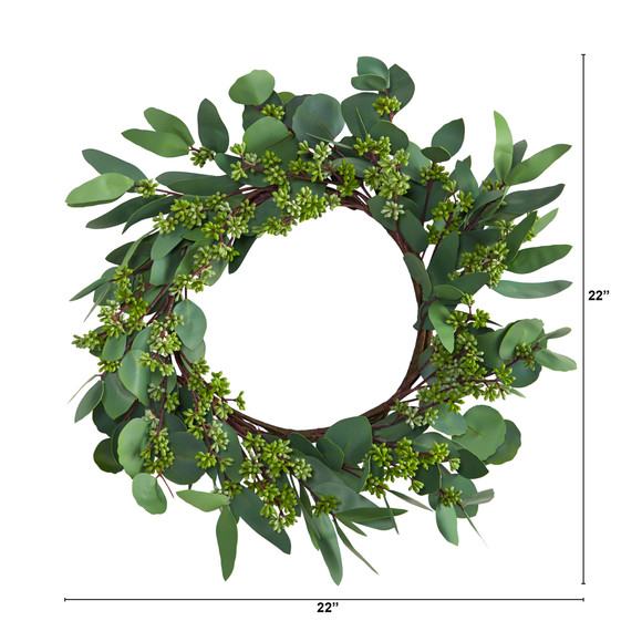 22 Eucalyptus and Berry Artificial Wreath - SKU #W1140 - 1