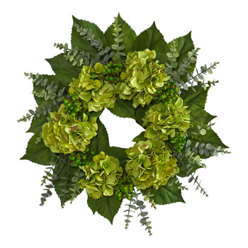 24 Hydrangea and Eucalyptus Artificial Wreath - SKU #W1142