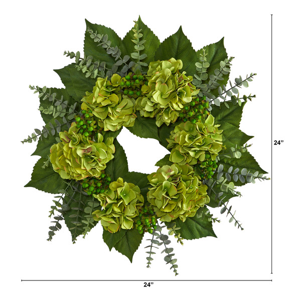 24 Hydrangea and Eucalyptus Artificial Wreath - SKU #W1142 - 1