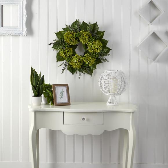 24 Hydrangea and Eucalyptus Artificial Wreath - SKU #W1142 - 2