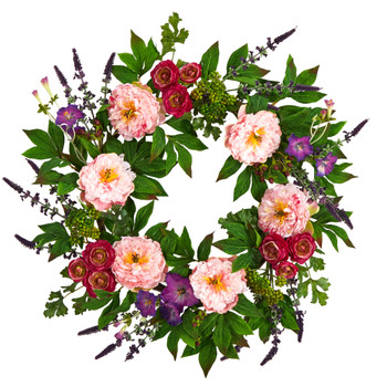 22 Assorted Peony Artificial Wreath - SKU #W1143