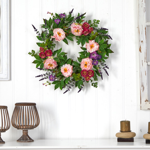22 Assorted Peony Artificial Wreath - SKU #W1143 - 3
