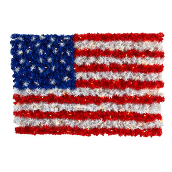 3 x 2 Red White and Blue American Flag Wall Panel with 100 Warm LED Lights Indoor/Outdoor - SKU #W1170