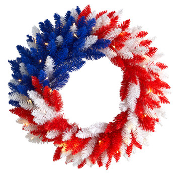 18 Patriotic Red White and Blue Americana Wreath with 20 Warm LED Lights - SKU #W1171