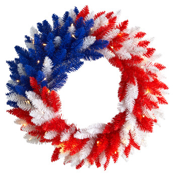 24 Patriotic Red White and Blue Americana Wreath with 35 Warm LED Lights - SKU #W1172