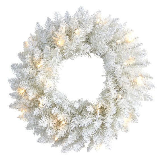 18 Colorado Spruce Artificial Christmas Wreath with 129 Bendable Branches and 20 Warm LED Lights - SKU #W1173
