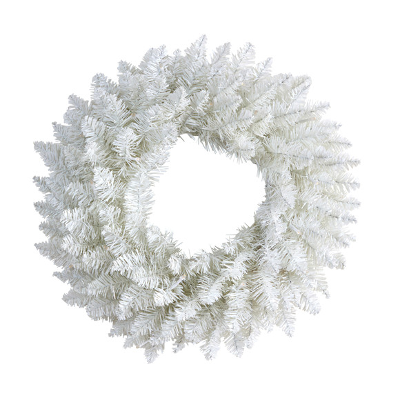 18 Colorado Spruce Artificial Christmas Wreath with 129 Bendable Branches and 20 Warm LED Lights - SKU #W1173 - 2