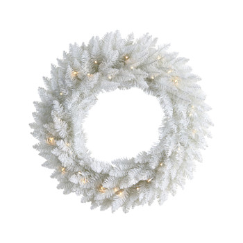 24 Colorado Spruce Artificial Christmas Wreath with 179 Bendable Branches and 35 Warm LED Lights - SKU #W1174