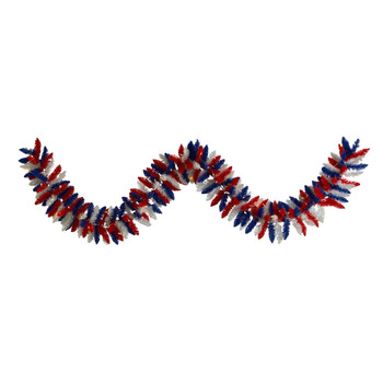 9 Patriotic American Flag Themed Artificial Garland with 50 Warm LED Lights - SKU #W1176