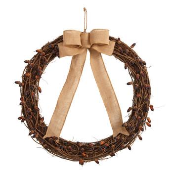 30 Fall Acorn and Decorative Bow Autumn Wreath - SKU #W1177