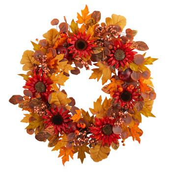 30 Fall Acorn Sunflower Berries and Autumn Foliage Artificial Wreath - SKU #W1178