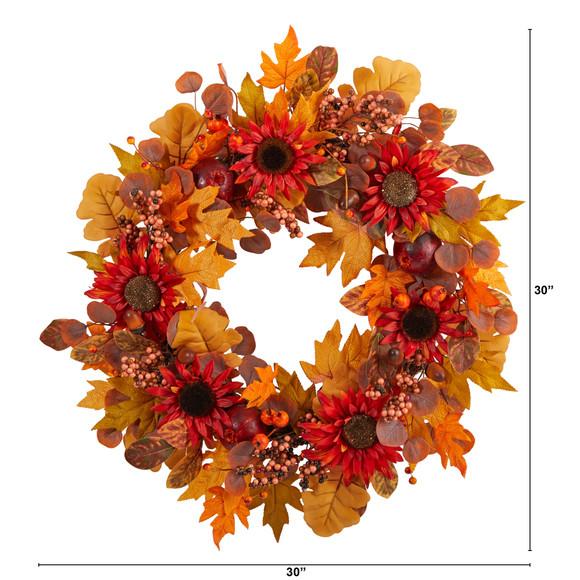 30 Fall Acorn Sunflower Berries and Autumn Foliage Artificial Wreath - SKU #W1178 - 1