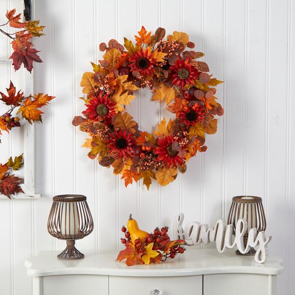30 Fall Acorn Sunflower Berries and Autumn Foliage Artificial Wreath - SKU #W1178 - 2