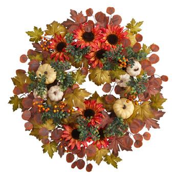 30 Fall Acorn Sunflower Berries and Autumn Foliage Artificial Wreath - SKU #W1179