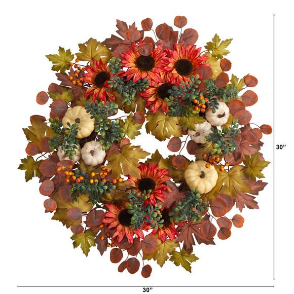 30 Fall Acorn Sunflower Berries and Autumn Foliage Artificial Wreath - SKU #W1179 - 1
