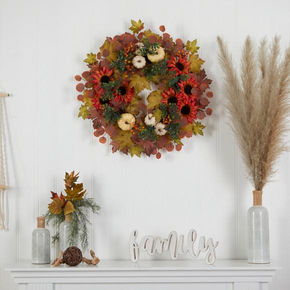 30 Fall Acorn Sunflower Berries and Autumn Foliage Artificial Wreath - SKU #W1179 - 2