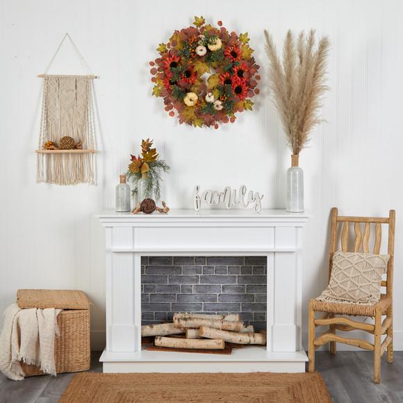 30 Fall Acorn Sunflower Berries and Autumn Foliage Artificial Wreath - SKU #W1179 - 3