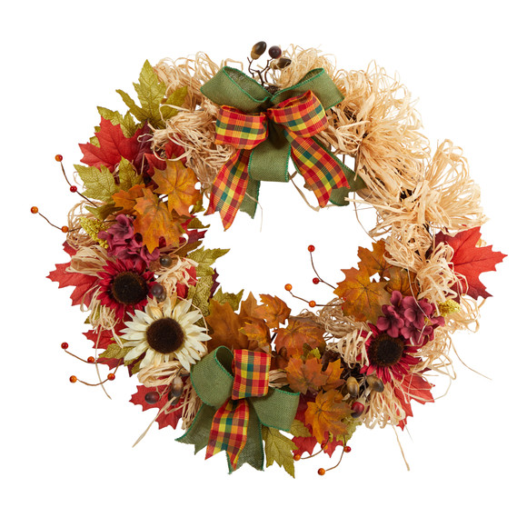 30 Harvest Autumn Sunflower Maple Leaves and Berries Artificial Fall Wreath with Decorative Bows - SKU #W1180