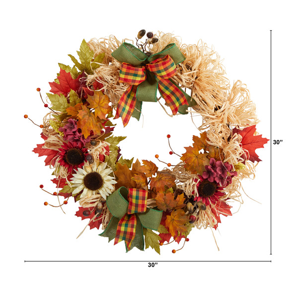 30 Harvest Autumn Sunflower Maple Leaves and Berries Artificial Fall Wreath with Decorative Bows - SKU #W1180 - 1