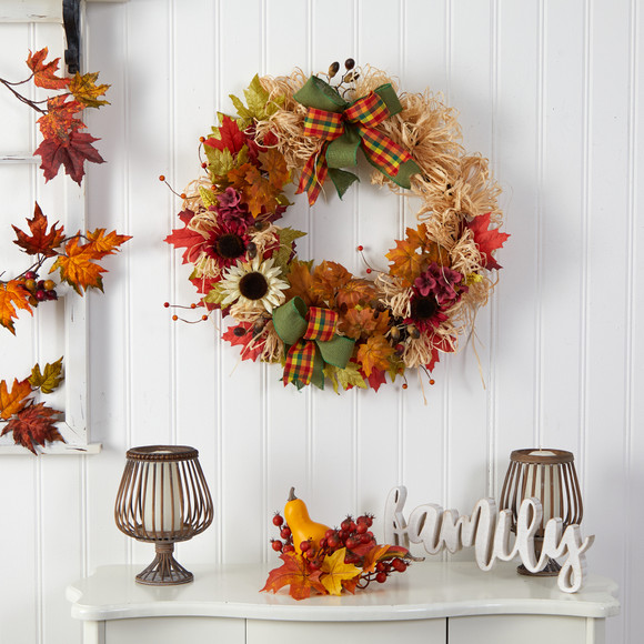 30 Harvest Autumn Sunflower Maple Leaves and Berries Artificial Fall Wreath with Decorative Bows - SKU #W1180 - 2