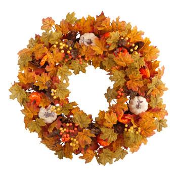 30 Autumn Pumpkin and Maple Leaf Artificial Fall Wreath - SKU #W1182