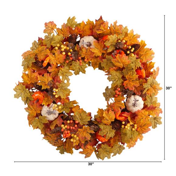 30 Autumn Pumpkin and Maple Leaf Artificial Fall Wreath - SKU #W1182 - 1