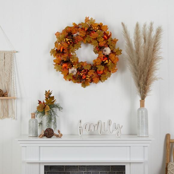 30 Autumn Pumpkin and Maple Leaf Artificial Fall Wreath - SKU #W1182 - 2